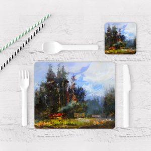 Individuales De Mesa Modernos para Comedor Pintura Bosque 03