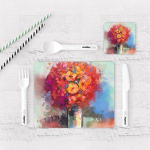 Individuales De Mesa Modernos para Comedor Pintura Flores 64