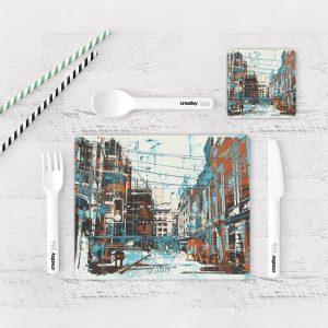 Individuales De Mesa Modernos para Comedor Pintura Ciudad 29