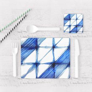 Individuales De Mesa Modernos para Comedor Patrón Azul 20