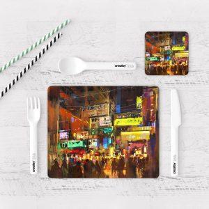 Individuales De Mesa Modernos para Comedor Pintura Ciudad 34