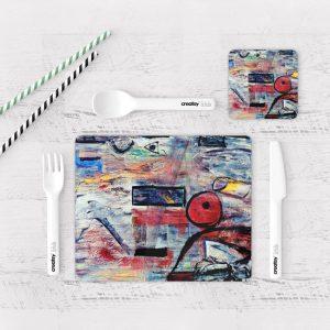 Individuales De Mesa Modernos para Comedor Pintura Abstracta 11