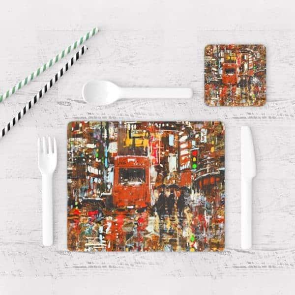 Individuales De Mesa Modernos para Comedor Pintura Ciudad 03