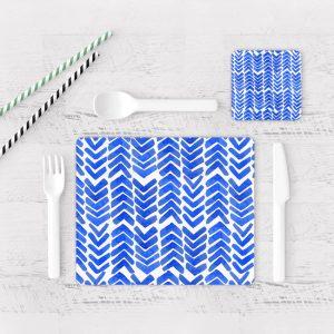 Individuales De Mesa Modernos para Comedor Patrón Azul 11
