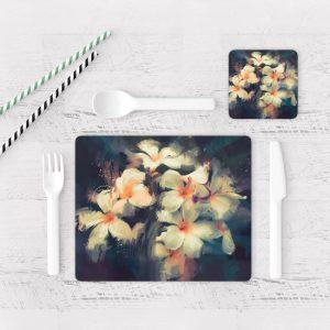 Individuales De Mesa Modernos para Comedor Pintura Flores 42