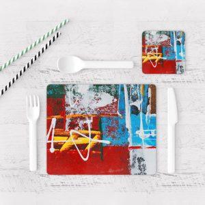 Individuales De Mesa Modernos para Comedor Pintura Abstracta 06