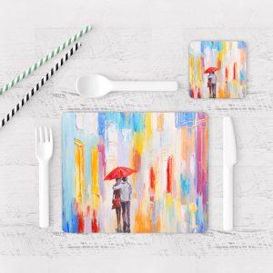 Individuales De Mesa Modernos para Comedor Pintura Pareja 01