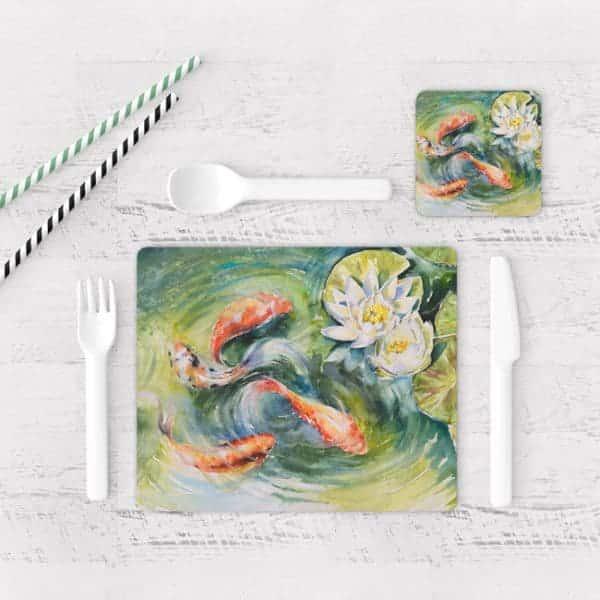Individuales De Mesa Modernos para Comedor Pintura Pes Koi 02
