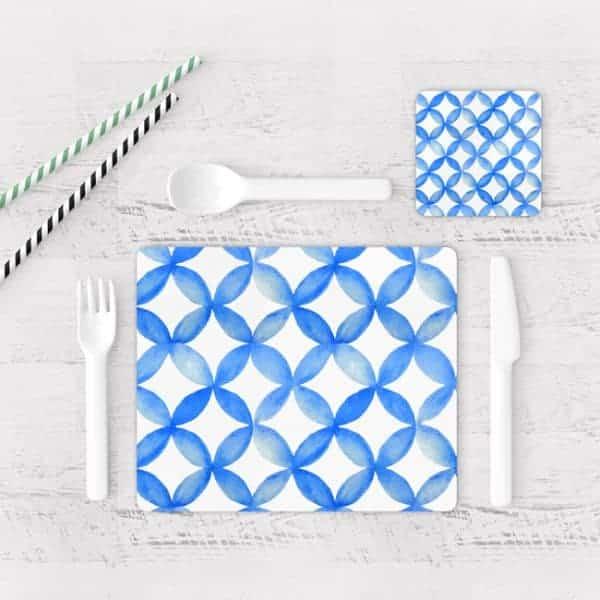 Individuales De Mesa Modernos para Comedor Patrón Azul 07
