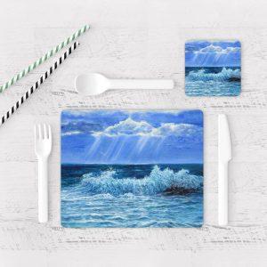 Individuales De Mesa Modernos para Comedor Pintura Mar Y Olas 03