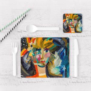 Individuales De Mesa Modernos para Comedor Pintura Mujer 01
