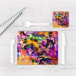 Individuales De Mesa Modernos para Comedor Pintura Abstracta 03
