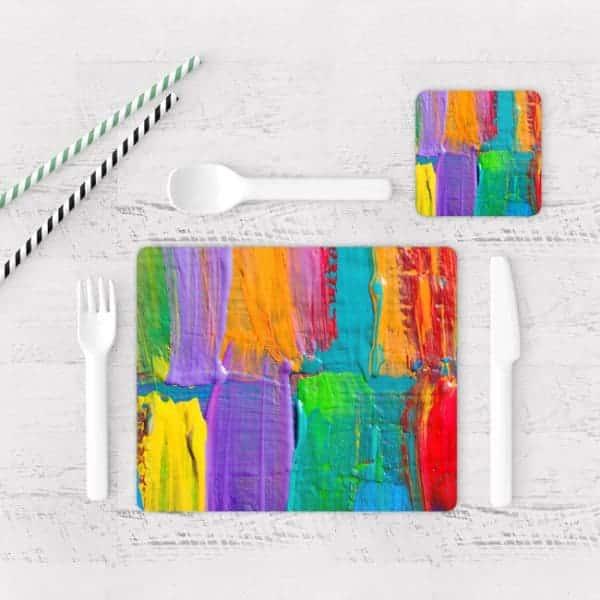 Individuales De Mesa Modernos para Comedor Pintura Pincel 05
