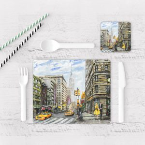 Individuales De Mesa Modernos para Comedor Pintura New York 04
