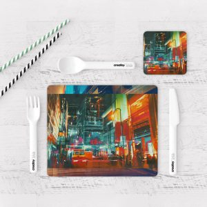 Individuales De Mesa Modernos para Comedor Pintura Ciudad 14