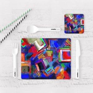 Individuales De Mesa Modernos para Comedor Pintura Abstracta 15