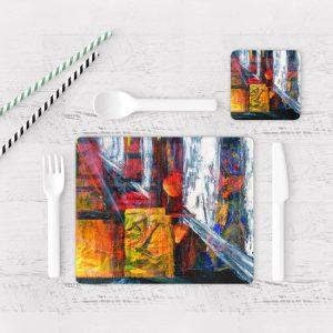 Individuales De Mesa Modernos para Comedor Pintura Abstracta 17