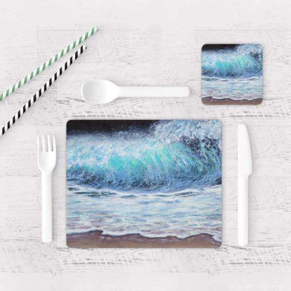 Individuales De Mesa Modernos para Comedor Pintura Mar Y Olas 05