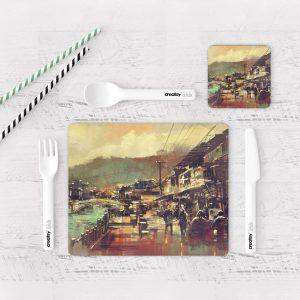 Individuales De Mesa Modernos para Comedor Pintura Ciudad 21