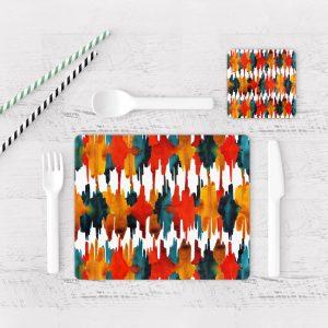 Individuales De Mesa Modernos para Comedor Patrón Rojo Y Azul 01