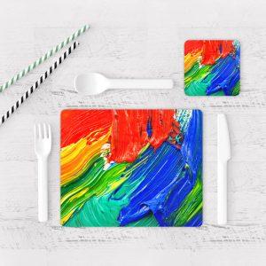 Individuales De Mesa Modernos para Comedor Pintura Pincel 01