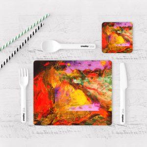Individuales De Mesa Modernos para Comedor Pintura Abstracta 12