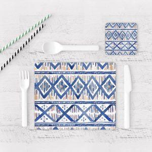 Individuales De Mesa Modernos para Comedor Patrón Azul 22