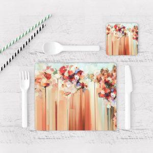 Individuales De Mesa Modernos para Comedor Pintura Flores 72