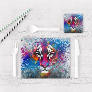 Individuales De Mesa Modernos para Comedor Tigre Colores 06