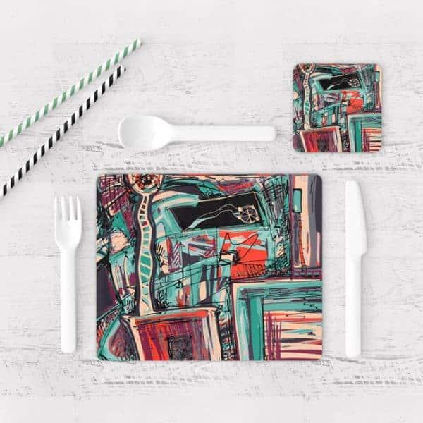 Individuales De Mesa Modernos para Comedor Pintura Abstracta 20