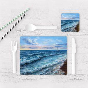 Individuales De Mesa Modernos para Comedor Pintura Mar Y Olas 02