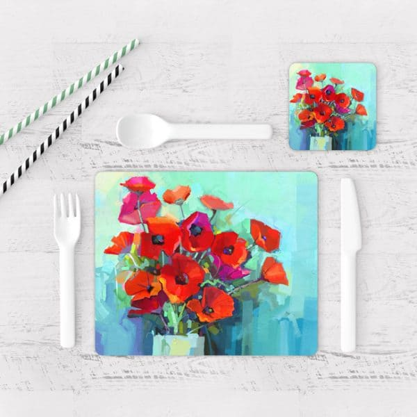 Individuales De Mesa Modernos para Comedor Pintura Flores 65