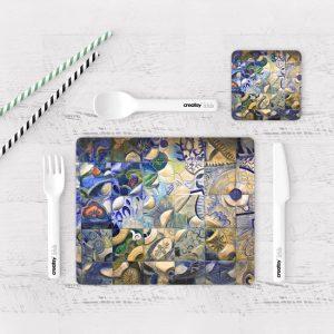 Individuales De Mesa Modernos para Comedor Pintura Abstracta 04