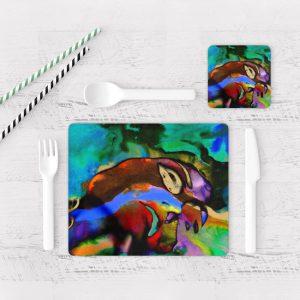 Individuales De Mesa Modernos para Comedor Pintura Abstracta 26