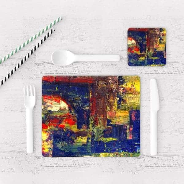 Individuales De Mesa Modernos para Comedor Pintura Abstracta 07
