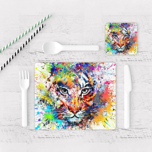 Individuales De Mesa Modernos para Comedor Tigre Colores 01