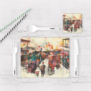 Individuales De Mesa Modernos para Comedor Pintura Ciudad 30