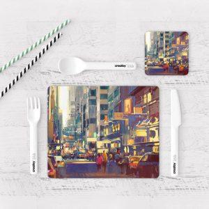 Individuales De Mesa Modernos para Comedor Pintura Ciudad 26