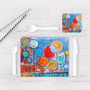 Individuales De Mesa Modernos para Comedor Pintura Arboles 10