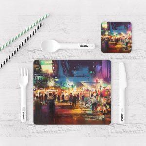 Individuales De Mesa Modernos para Comedor Pintura Ciudad 25
