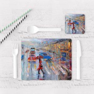 Individuales De Mesa Modernos para Comedor Pintura Ciudad 02