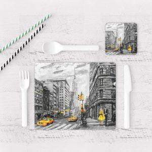 Individuales De Mesa Modernos para Comedor Pintura New York 05
