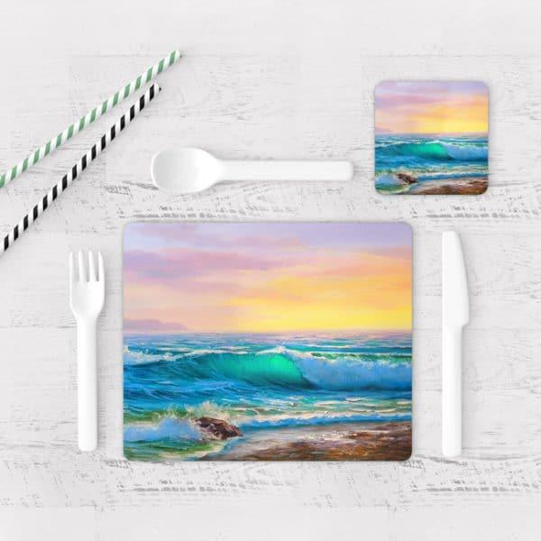 Individuales De Mesa Modernos para Comedor Pintura Mar Y Olas 09