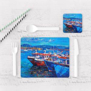 Individuales De Mesa Modernos para Comedor Pintura Barcas 07