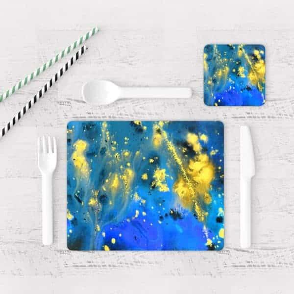 Individuales De Mesa Modernos para Comedor Pintura Abstracta 99