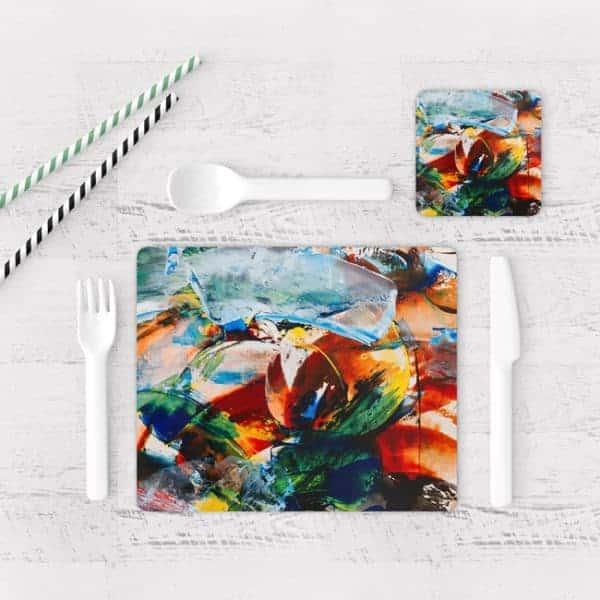 Individuales De Mesa Modernos para Comedor Pintura Abstracta 103