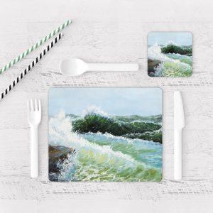 Individuales De Mesa Modernos para Comedor Pintura Mar Y Olas 01