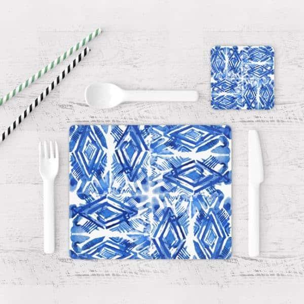 Individuales De Mesa Modernos para Comedor Patrón Azul 15