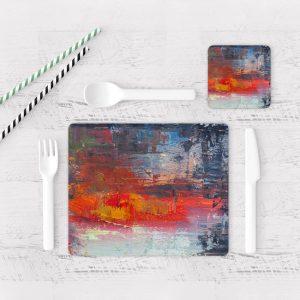 Individuales De Mesa Modernos para Comedor Pintura Abstracta 102
