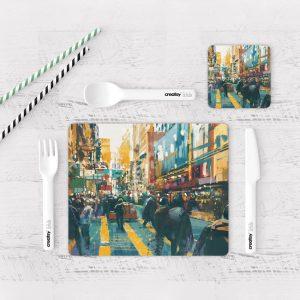 Individuales De Mesa Modernos para Comedor Pintura Ciudad 35